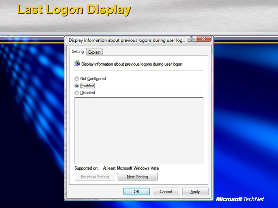 Last Logon Display