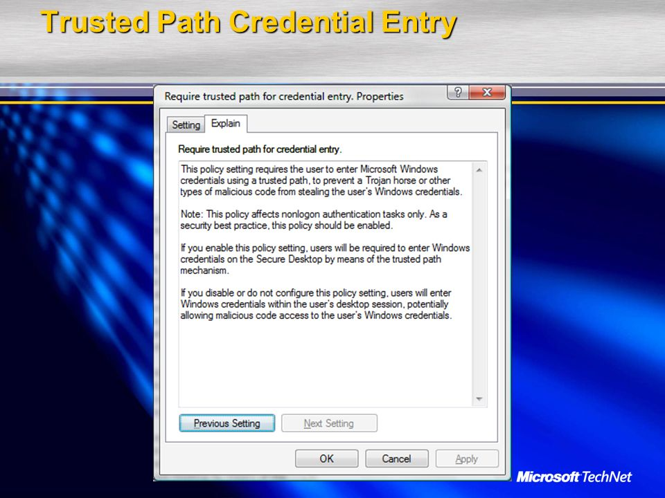 Trusted Path Credential Entry