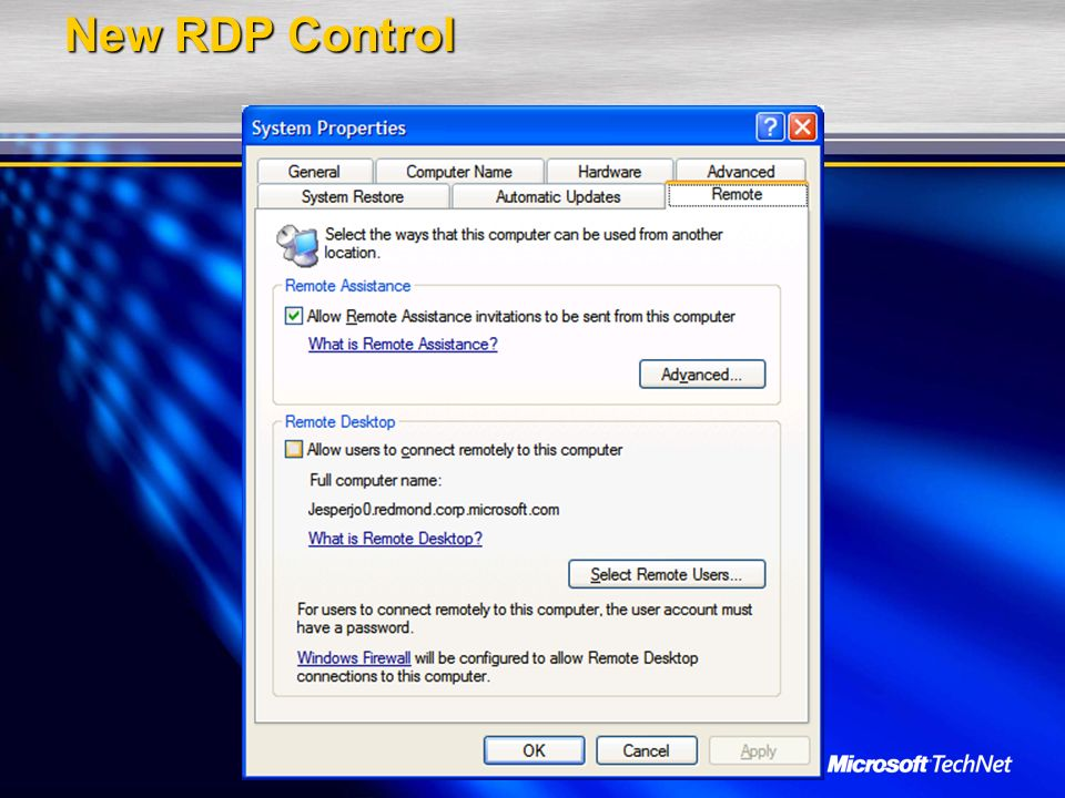 New RDP Control