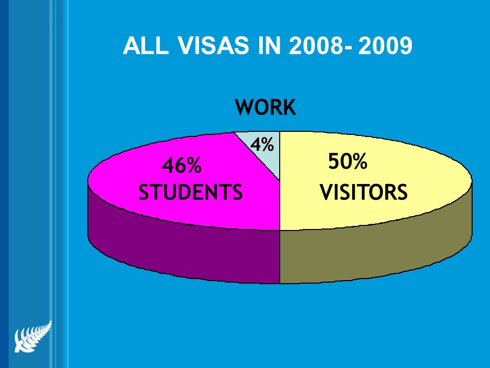 ALL VISAS IN 2008- 2009 WORK 4% 50% 46% STUDENTS VISITORS