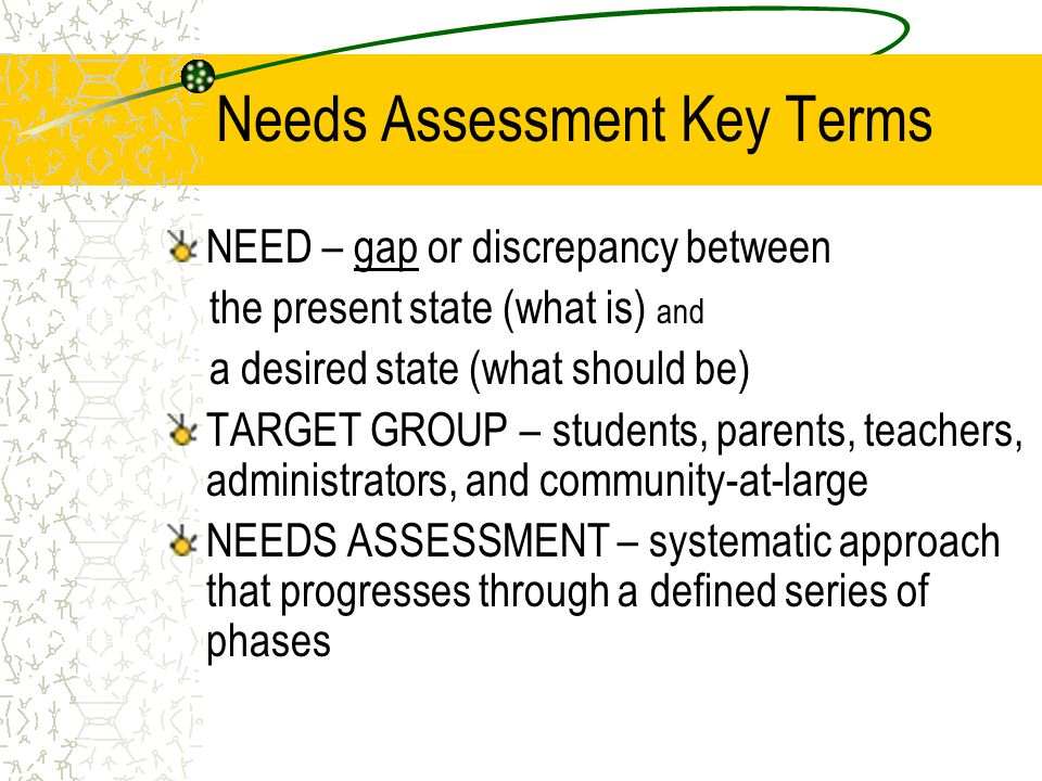 Needs Assessment Key Terms