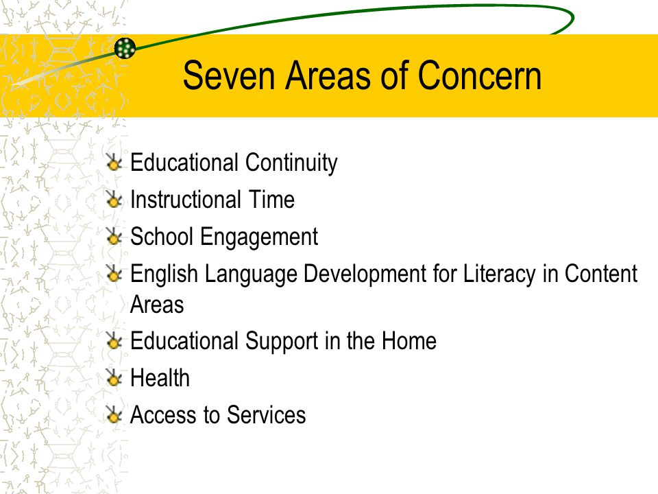 Seven Areas of Concern Educational Continuity Instructional Time
