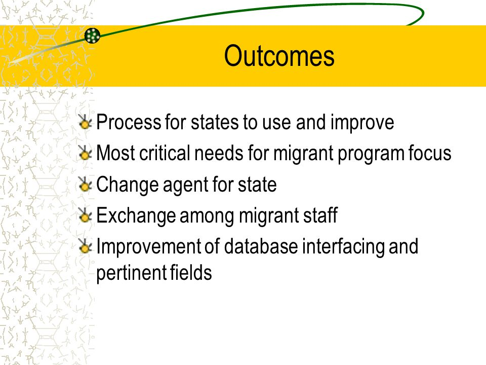 Outcomes Process for states to use and improve