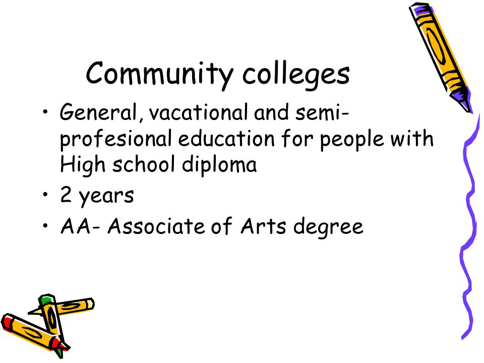 Community colleges General, vacational and semi-profesional education for people with High school diploma.