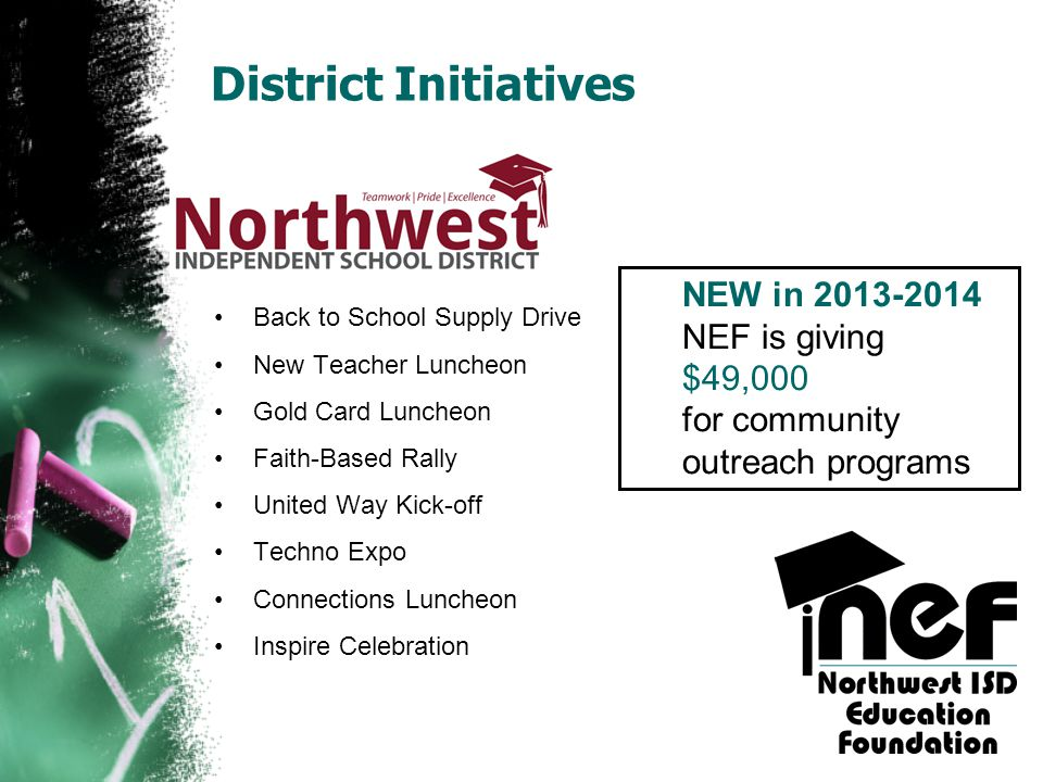 District Initiatives NEW in 2013-2014 NEF is giving $49,000