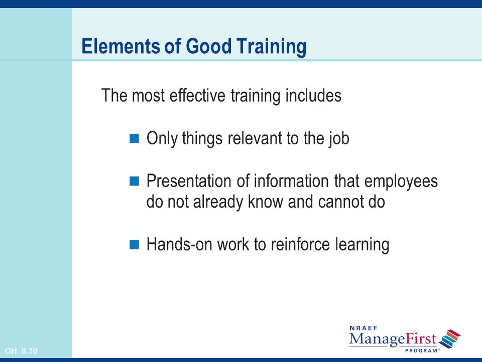 Elements of Good Training