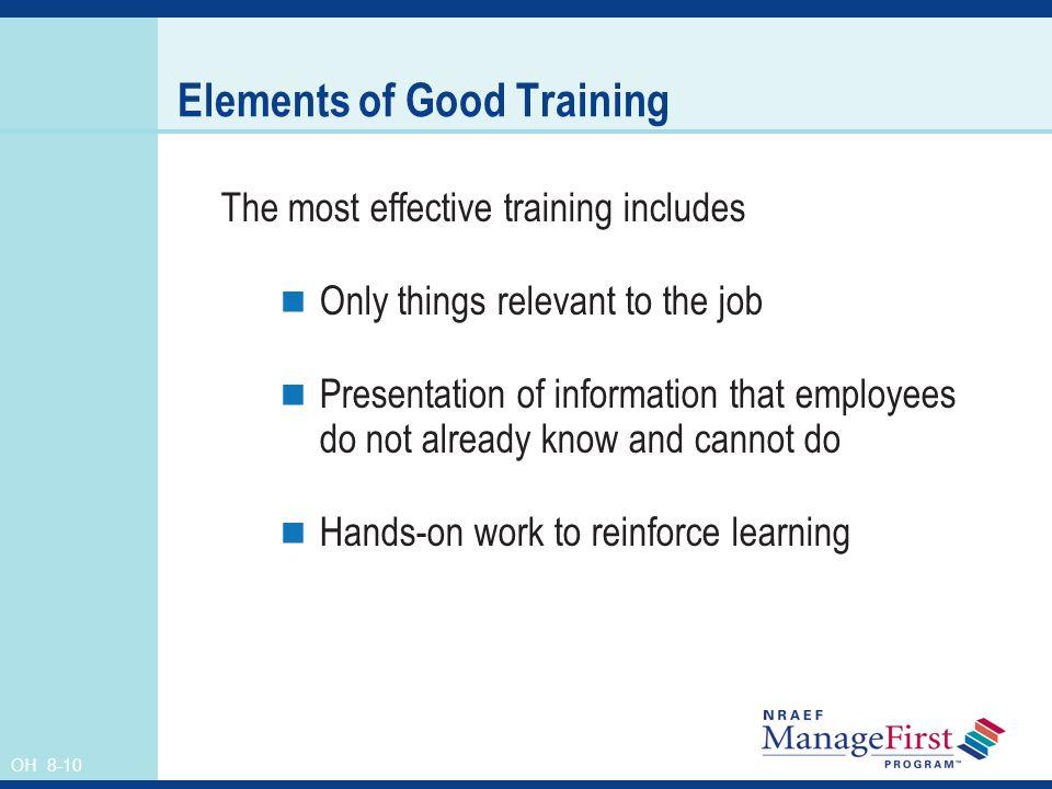 Elements of Good Training