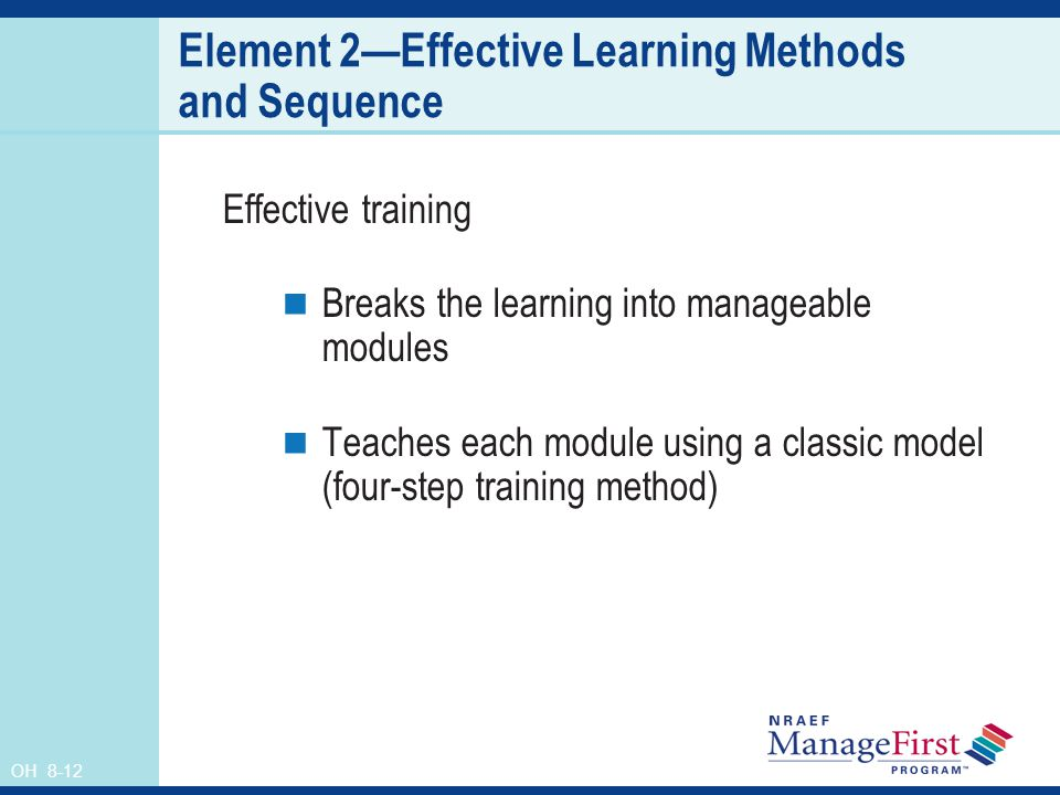Element 2—Effective Learning Methods and Sequence