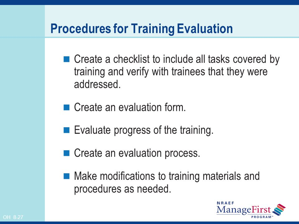 Procedures for Training Evaluation