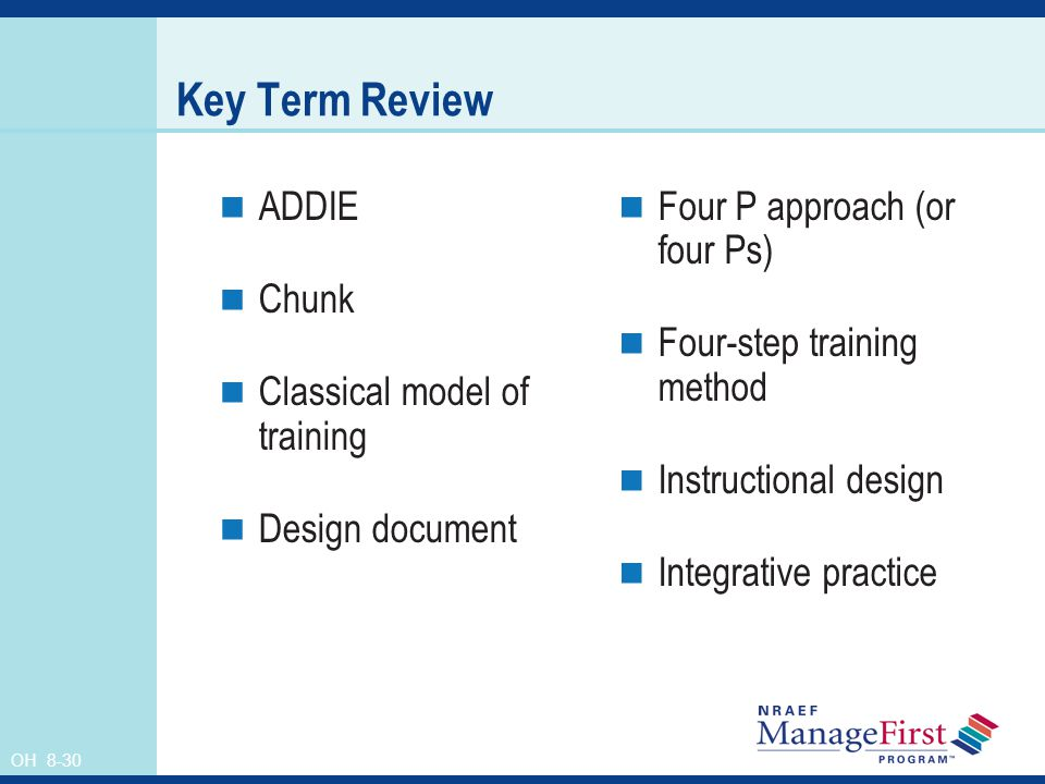 Key Term Review ADDIE Chunk Classical model of training