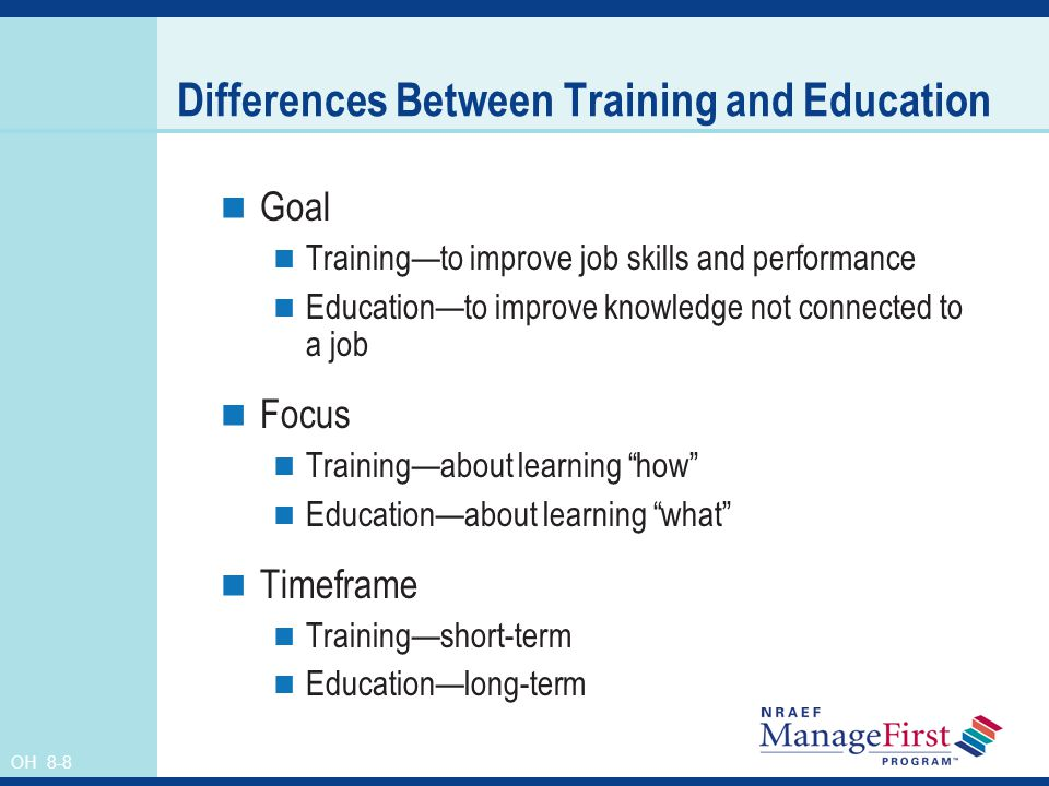 Differences Between Training and Education