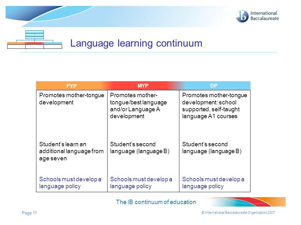 Language learning continuum
