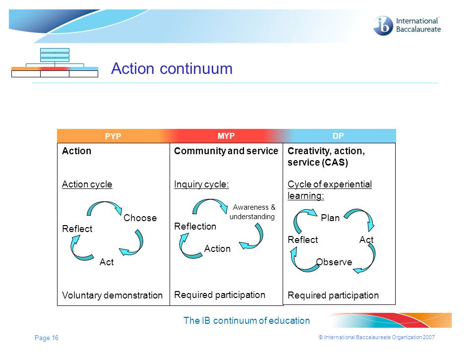 Action continuum Action Action cycle Choose Reflect Act