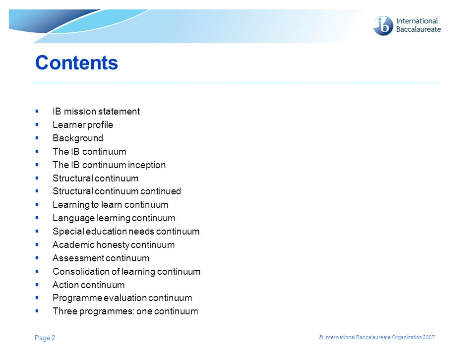 Contents IB mission statement Learner profile Background