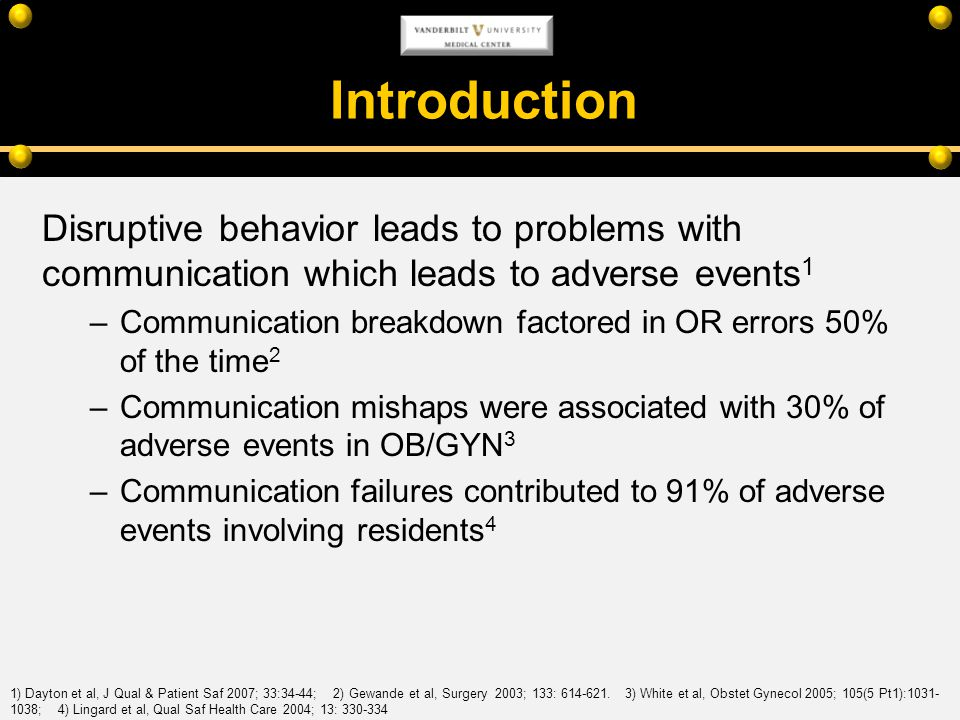 Introduction Disruptive behavior leads to problems with communication which leads to adverse events1.