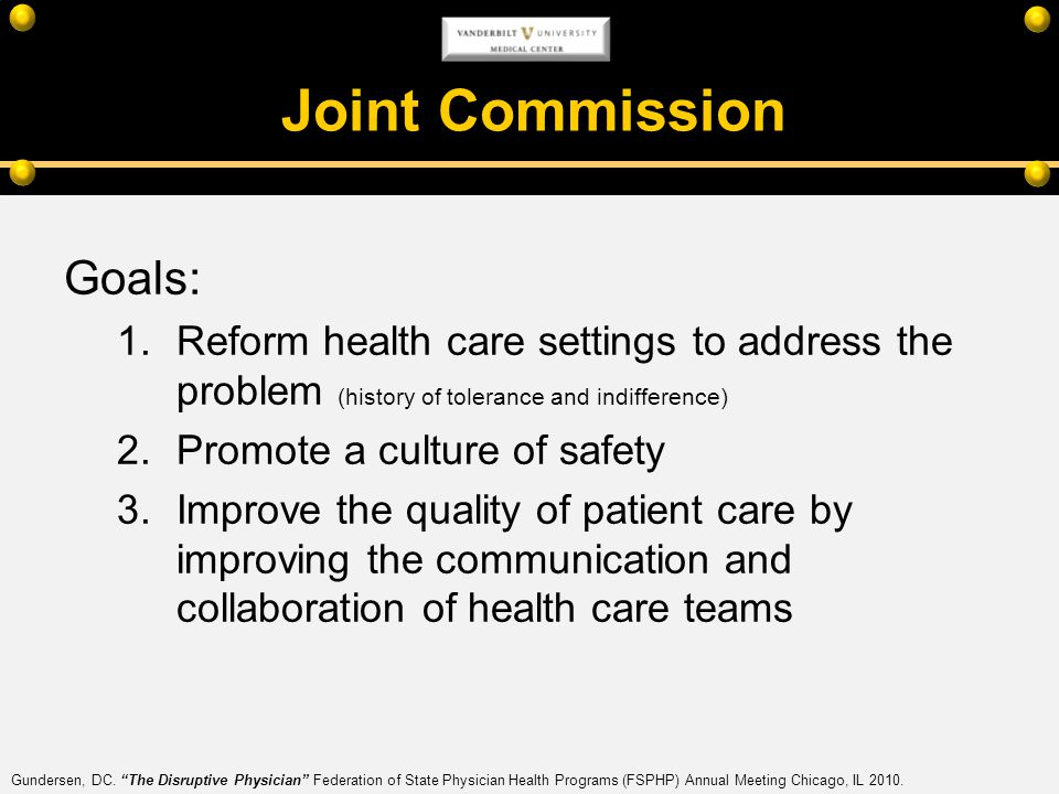 Joint Commission Goals: