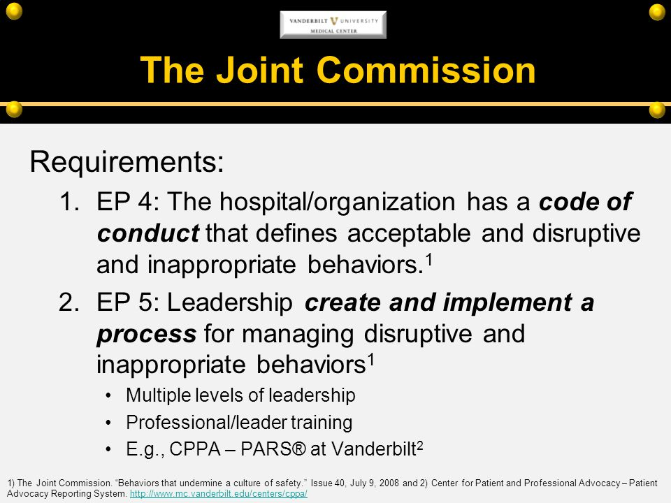 The Joint Commission Requirements: