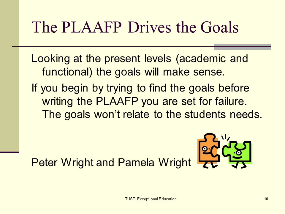 The PLAAFP Drives the Goals