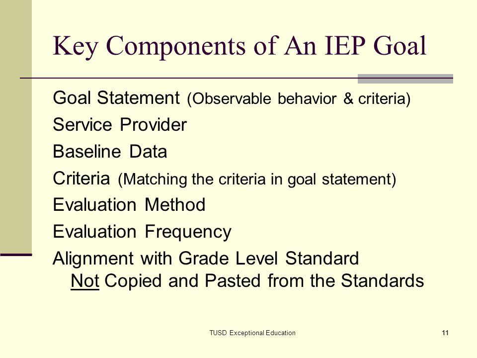 Key Components of An IEP Goal