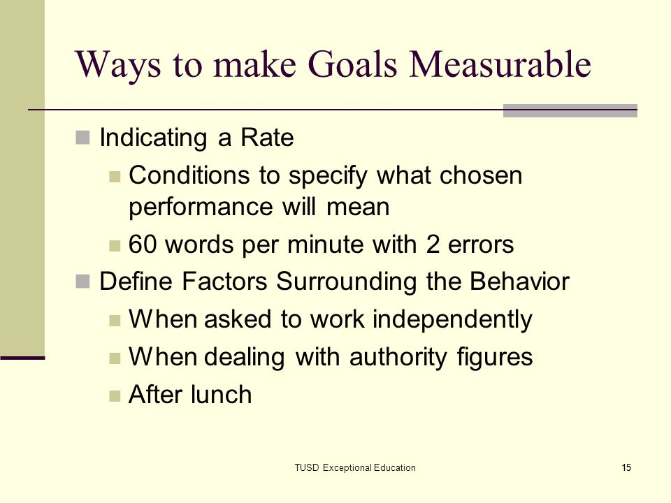 Ways to make Goals Measurable