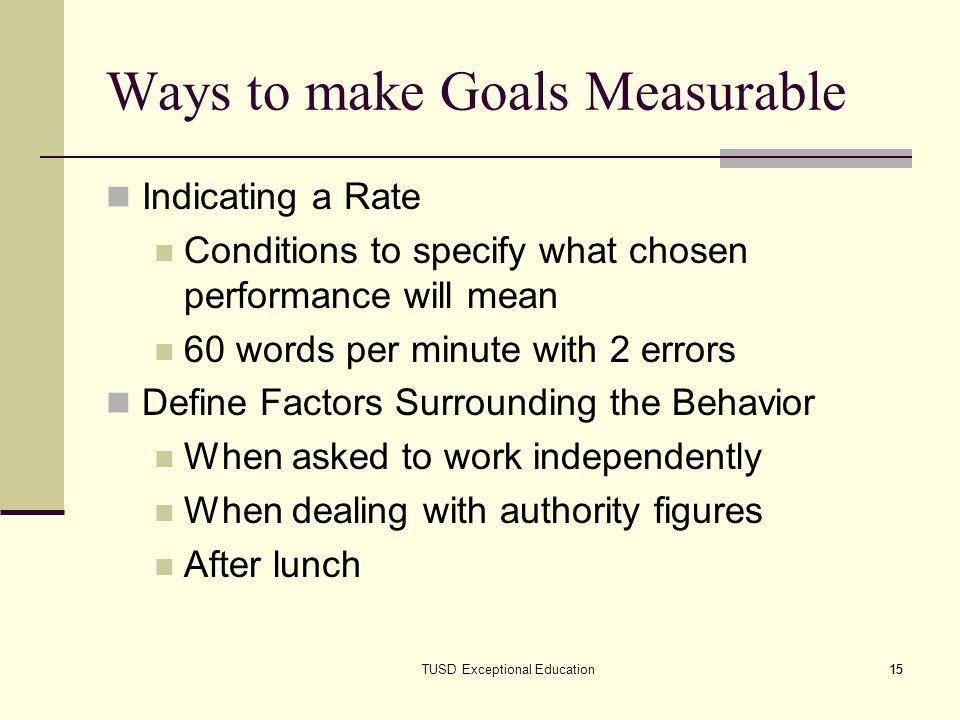 Ways to make Goals Measurable