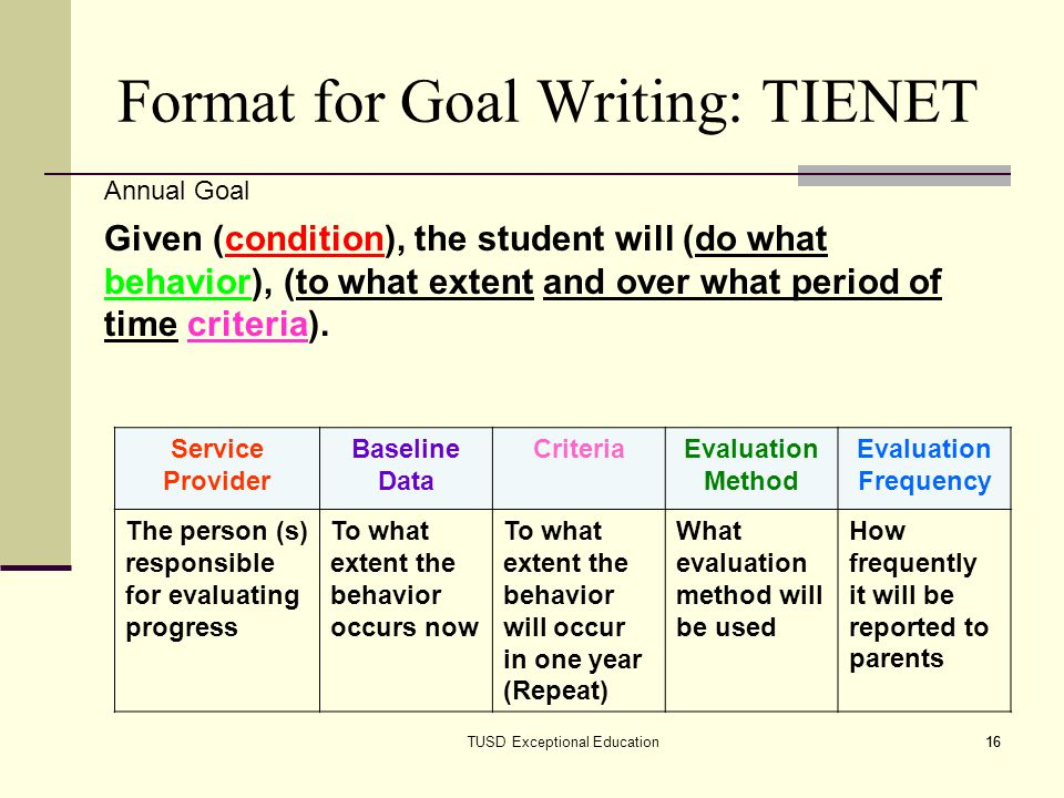Format for Goal Writing: TIENET