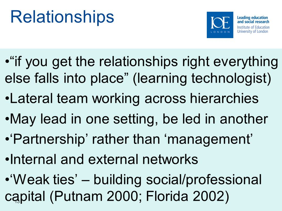 Relationships if you get the relationships right everything else falls into place (learning technologist)