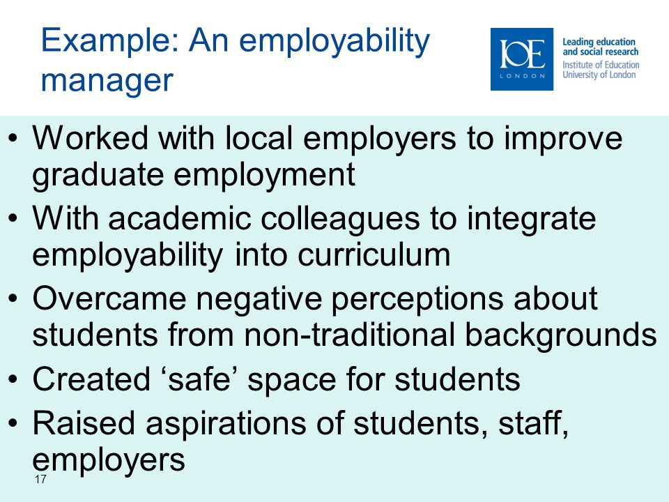 Example: An employability manager
