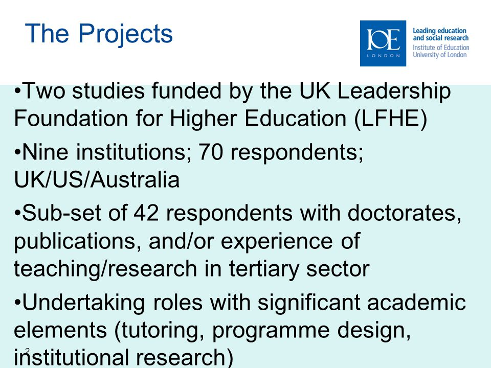 The Projects Two studies funded by the UK Leadership Foundation for Higher Education (LFHE) Nine institutions; 70 respondents; UK/US/Australia.