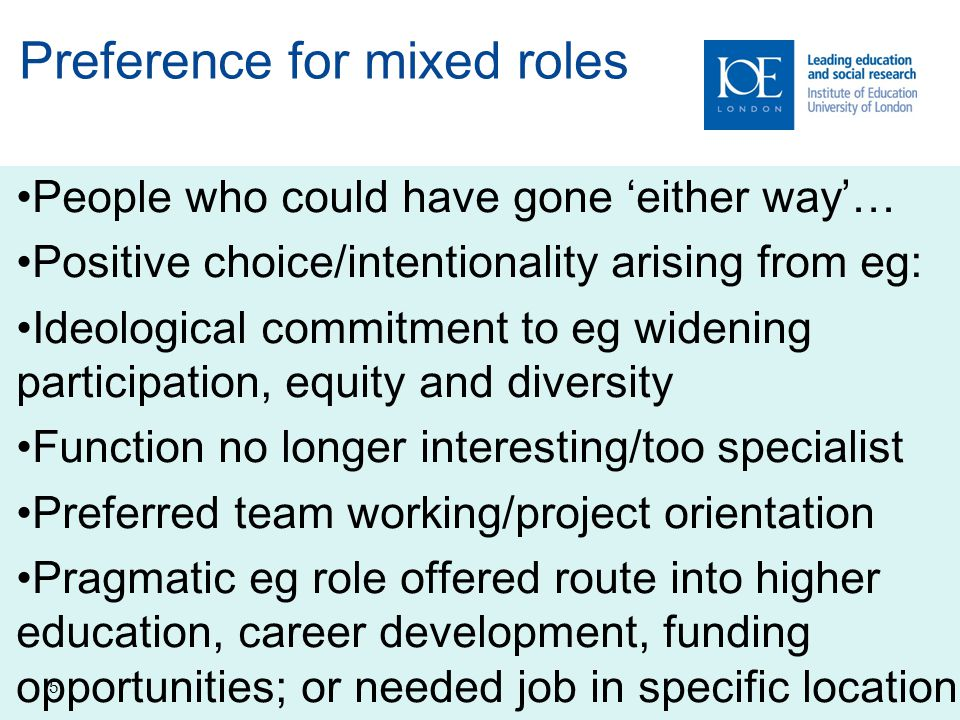 Preference for mixed roles