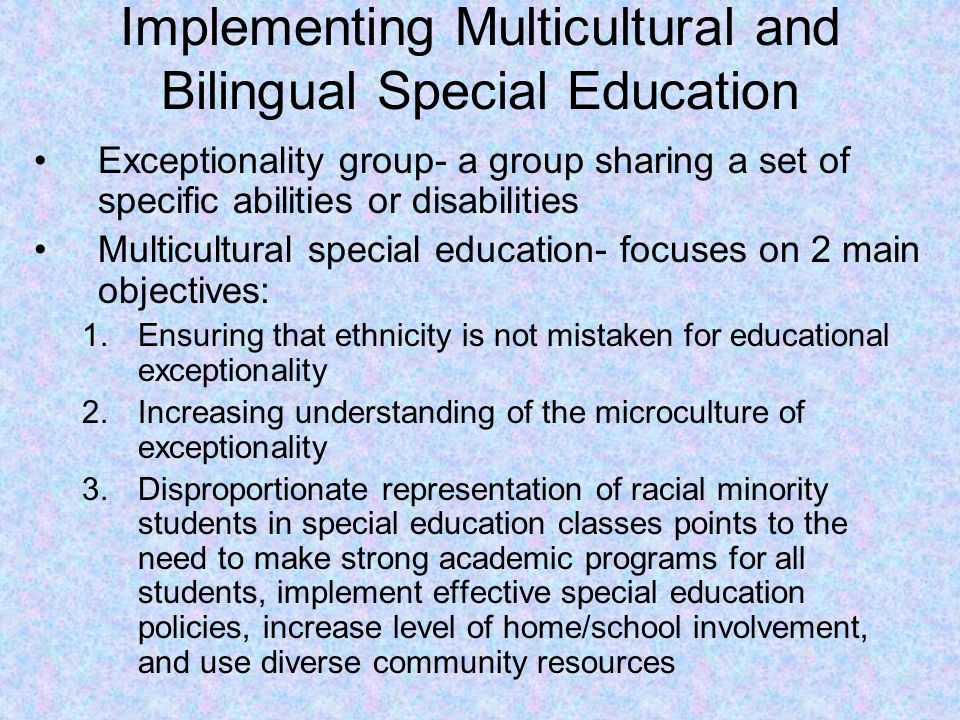 Implementing Multicultural and Bilingual Special Education