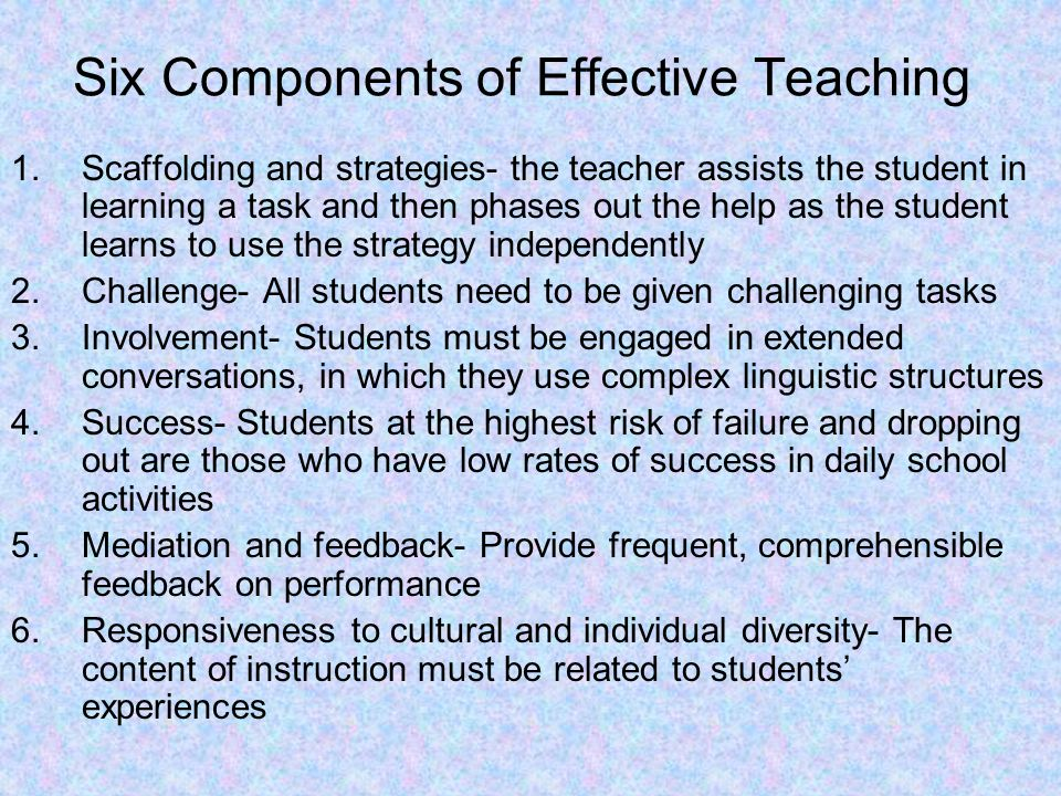 Six Components of Effective Teaching