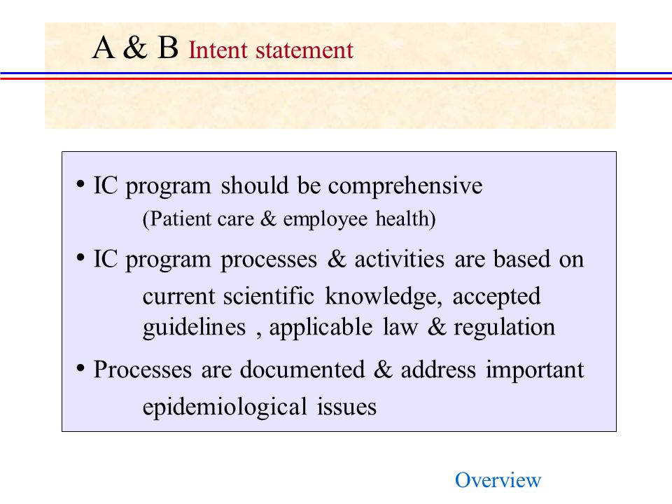 A & B Intent statement IC program should be comprehensive
