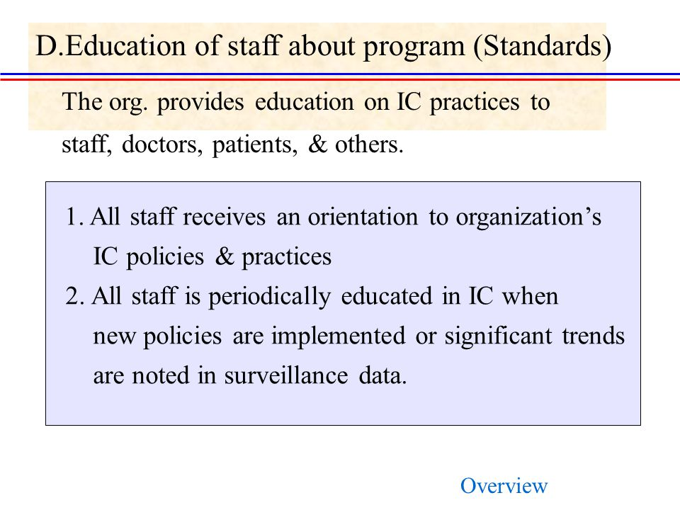 D.Education of staff about program (Standards)