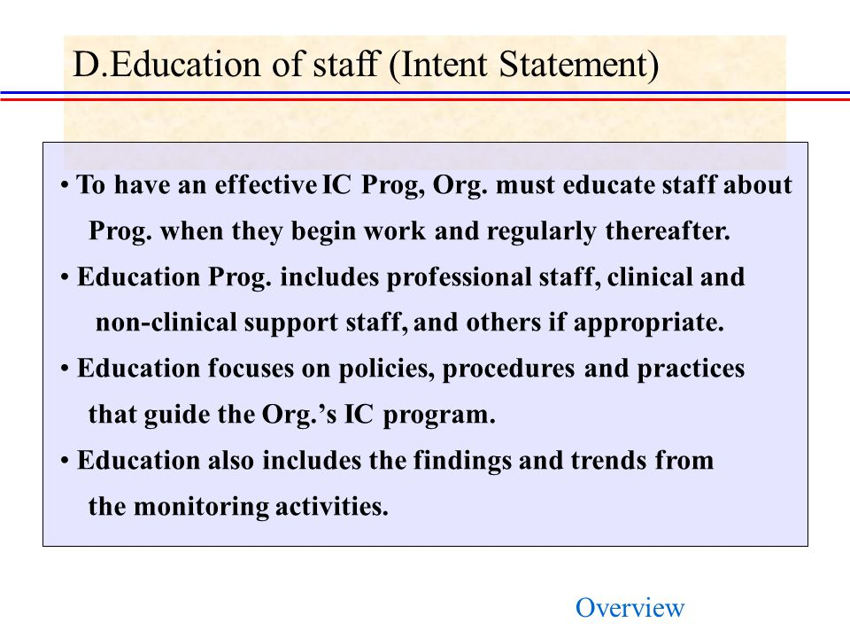 D.Education of staff (Intent Statement)