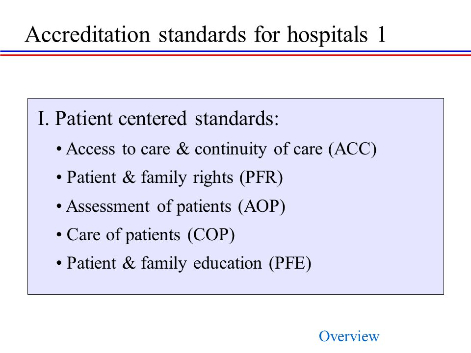 Accreditation standards for hospitals 1