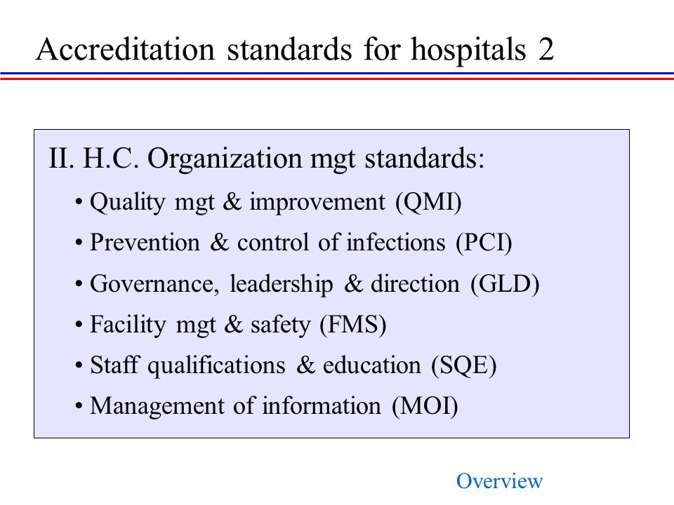 Accreditation standards for hospitals 2