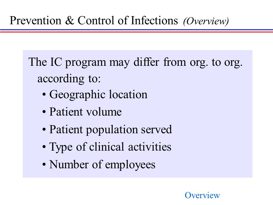 Prevention & Control of Infections (Overview)