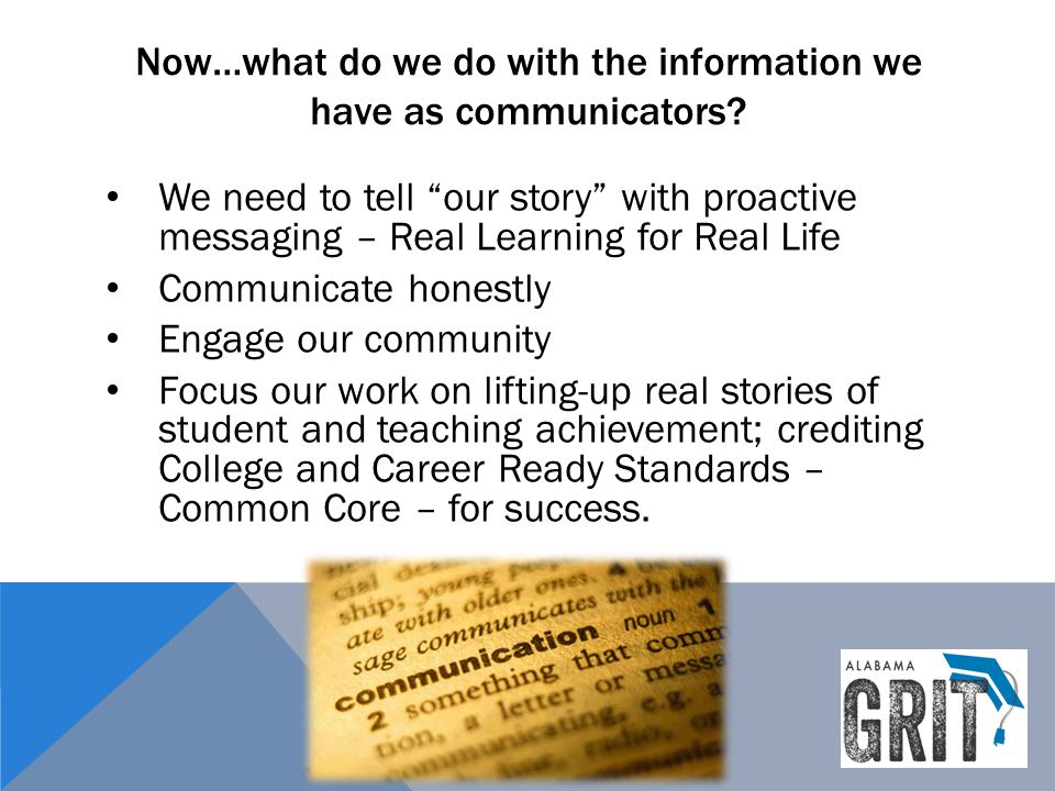 Now…what do we do with the information we have as communicators