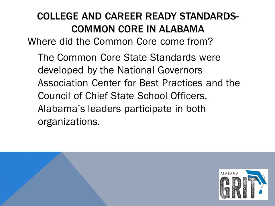 college and career ready standards-common core in Alabama