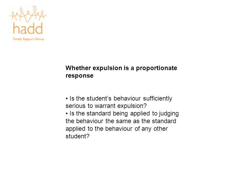 Whether expulsion is a proportionate response