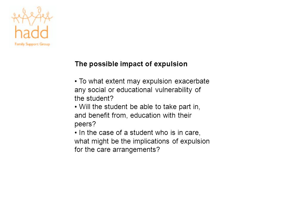 The possible impact of expulsion
