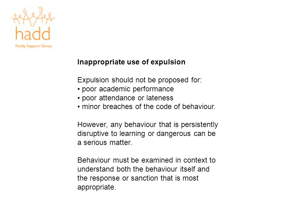 Inappropriate use of expulsion