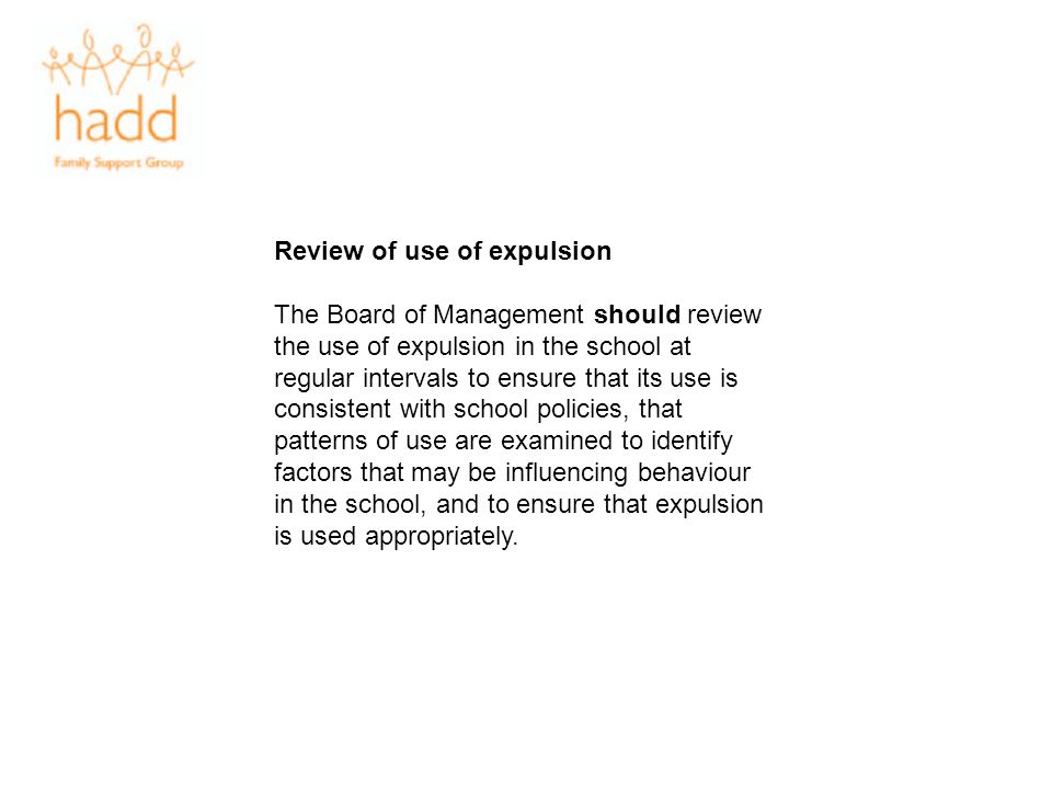 Review of use of expulsion