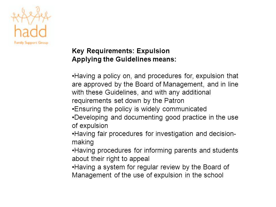 Key Requirements: Expulsion