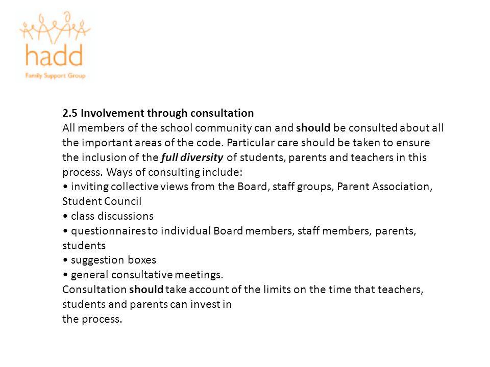 2.5 Involvement through consultation