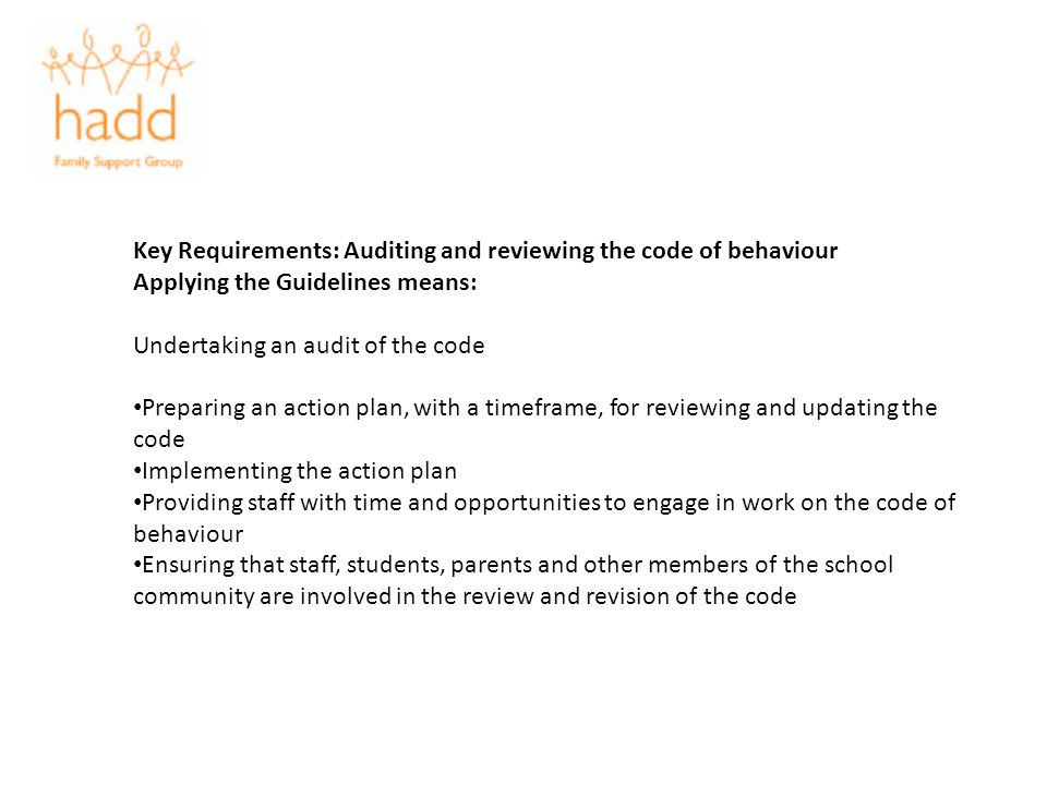 Key Requirements: Auditing and reviewing the code of behaviour