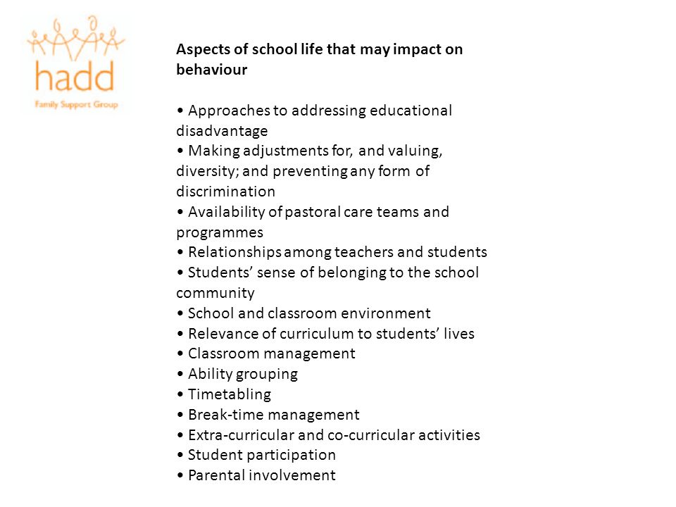 Aspects of school life that may impact on behaviour