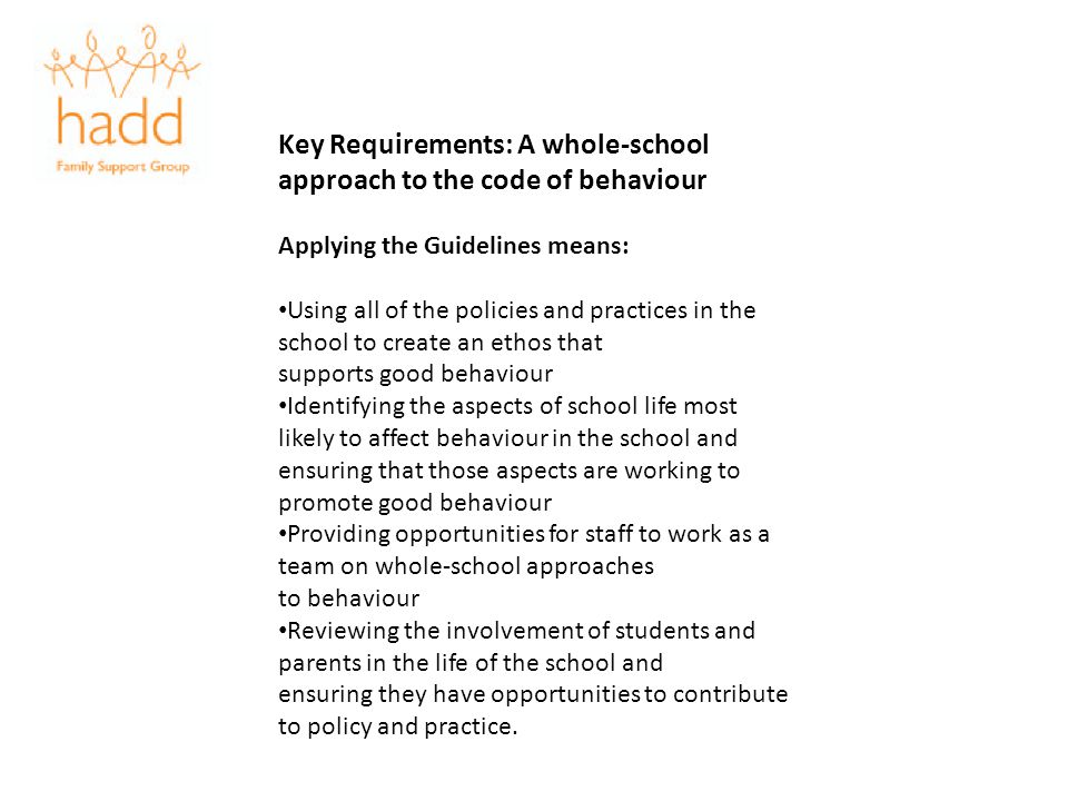 Key Requirements: A whole-school approach to the code of behaviour