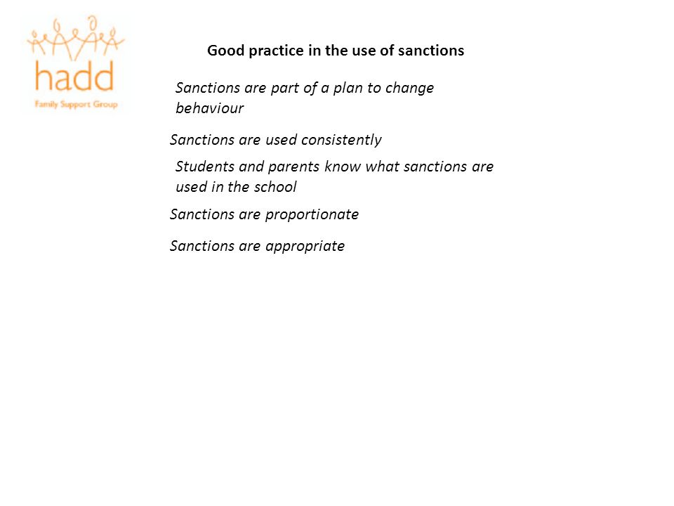 Good practice in the use of sanctions